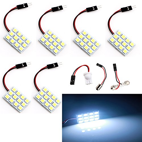 EverBright 6-Pack Super White 240lums 3th Generation Energy-saving 5050 12-SMD LED Panel Dome Light Auto Car Interior Reading Plate Lamp Roof Ceiling Interior Bulb With T10 / BA9S / Festoon Adapters (DC-12V)