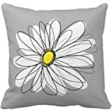 Leaveland Trendy Daisy With Gray and Yellow Pillow Case Cushion Cover Home Sofa Decorative 18 X 18 Squares