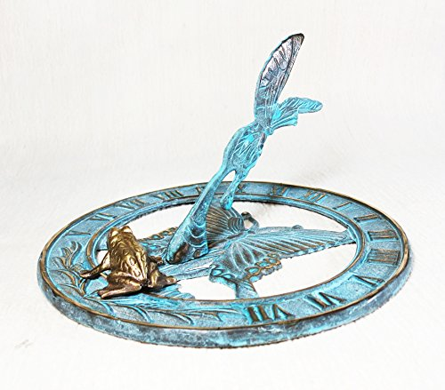 Brass Butterfly Sundial 8'' Inches Wide - With a Little Frog by Taiwan