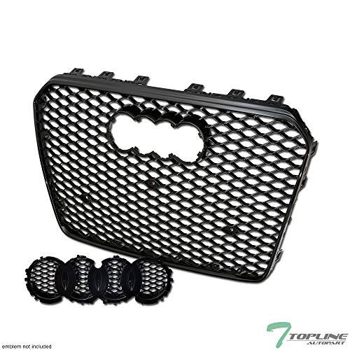 Topline Autopart Black Rs-Honeycomb Mesh Bumper Grill Grille Guard+Emblem Base 13-16 Audi A5 - Audi Grille