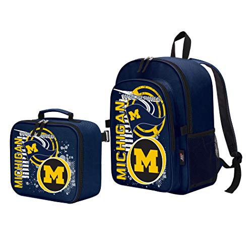The Northwest Company Officially Licensed NCAA Michigan Wolverines Accelerator Backpack & Lunch Kit Set, Blue, 16