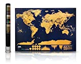 "Cartography Has Never Been So Beautiful Larger Scratch Off Map of The World than any other on the market! In fact, its measurements are 32.49"" x 23.43"" inches, so it will be a great addition to an empty wall and it looks extremely impressive...."