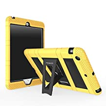 iPad Mini 1 / 2 / 3 Case, MoKo Silicone + Black Hard Polycarbonate Protector with Foldable Stand Cover Case for Mini 3, Mini 2 and Mini (2012 1st gen), YELLOW (Will not fit iPad Mini 4)