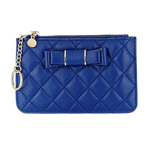 Boshiho Women's Coin Purse - Lambskin Leather Credit Card Holder Wallet with Removable Key Ring Mini Mini Pocket (Blue) ()