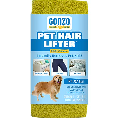 Gonzo Pet Hair Lifter - Remove Dog, Cat and Other Pet Hair from Furniture, Carpet, Bedding and Clothing - 1 Sponge ()
