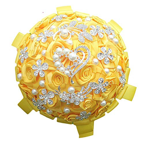 Fantastic-Journey Selling Gold Yellow Wedding Bouquets Diamond Brooch Bride Flowers de Noiva,18cm Choose Color
