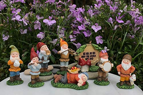 Adjore Miniature Dollhouse Fairy Garden ~ Snow White Set of 7 Dwarfs Plus HI HO Sign ~ Best Outdoor Accessory