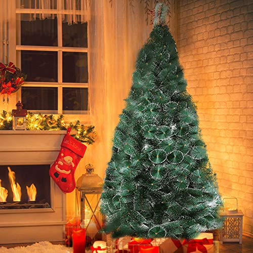 Dporticus 8' Classic Pine Needle Tree Encrypted Artificial Christmas Tree Natural Branch with Solid Metal Bracket, Conifer with Snowflake White Point (Snowflakes White Metal)