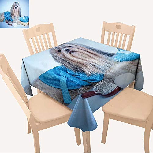 UHOO2018 Printed Fabric Tablecloth Square/Rectangle Shih tzu Dog After Washing with Bathrobe,Towels and Comb Soft Blue Background Tint Wedding Party Restaurant,50x 50inch]()