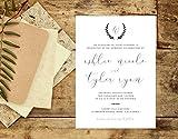 Rustic Elegant Wedding Invitation, Organic Handwritten Wedding Invitation, Wreath Wedding Invite