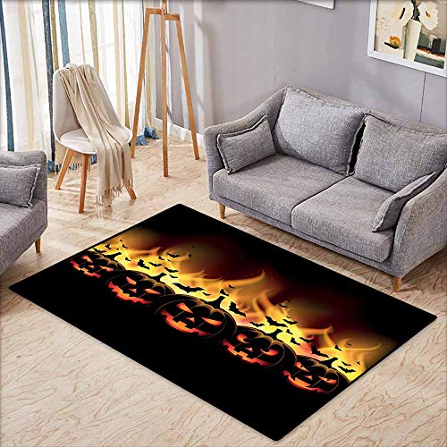 Hallway Rug,Vintage Halloween Happy Halloween Image with Jack o Lanterns on Fire with Bats Holiday,Extra Large Rug,3'3