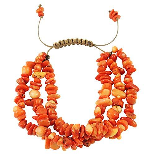 Turquoise Network Gemstone Bracelet 3-Strands (Choose Color) (Orange ()