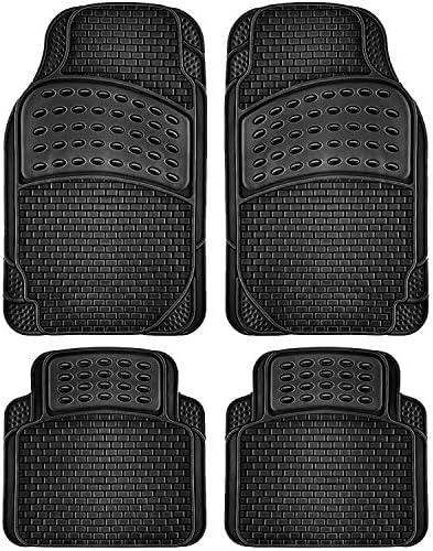 OxGord Brick-Style All-Weather Rubber Floor-Mats – Waterproof Protector for Spills, Dog, Pets, Car, SUV, Minivan, Truck – 4-Piece, Black