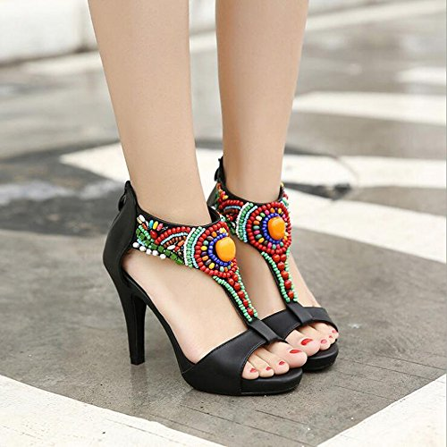 Bocca Moda Dimensioni 34 Sandali di Etnico Colore Pesce Nero Stile Tacchi Sandali Perline Donne IxI7ZqXwSA