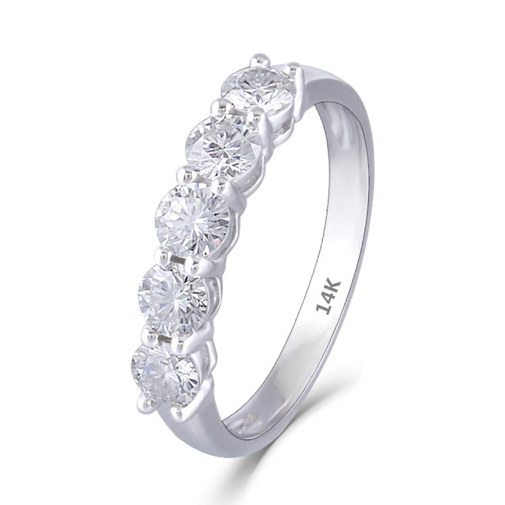 DOVEGGS 14K White Gold 1.25CTW 4mm F Color Clear Moissanite Engagement Ring Half Eternity Anniversary Wedding Band (6.5)