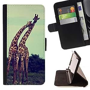 Dragon Case- Caja de la carpeta del caso en folio de cuero del tir¨®n de la cubierta protectora Shell FOR Sony Xperia Z1 M51W Z1 mini D5503- Giraffe Cute Cartoon