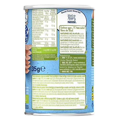 Nestle Naturnes Bio Nutri Puffs Snack De Cereales Con Tomate A Partir De 10 Meses Pack De 5 Envases X 35g