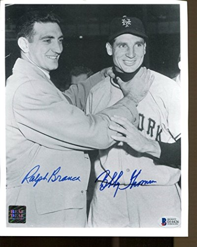 Ralph Branca Bobby Thomson Signed Photo 8x10 Autographed Beckett BAS D14426