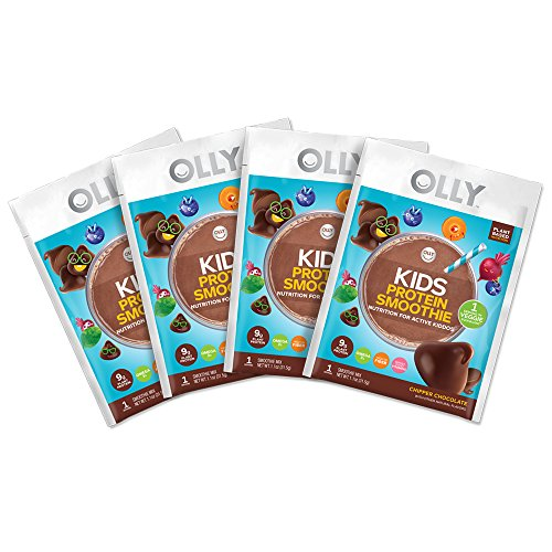 OLLY Kids Protein Powder, Plant-Based Protein, Chipper Chocolate, 4 Single Serve Packets
