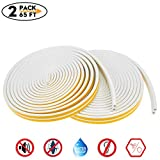 2 Pack 65Ft Long Insulation Weatherproof Doors and Windows Soundproofing Seal Strip with Adhesion Promoter(4PCS) Collision Avoidance Rubber Self-Adhesive Weatherstrip(White)