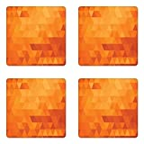 Ambesonne Orange Coaster Set Four, Triangle Mosaic Shapes Patterns Abstract Digital Pixel Decorative Home Print, Square Hardboard Gloss Coasters Drinks, Burnt Orange