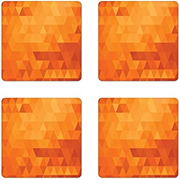 Ambesonne Orange Coaster Set of 4, Triangle Mosaic Shapes and Patterns with Abstract Digital Pixel Like Effect Print, Square Hardboard Gloss Coasters, Standard Size, Burnt Orange