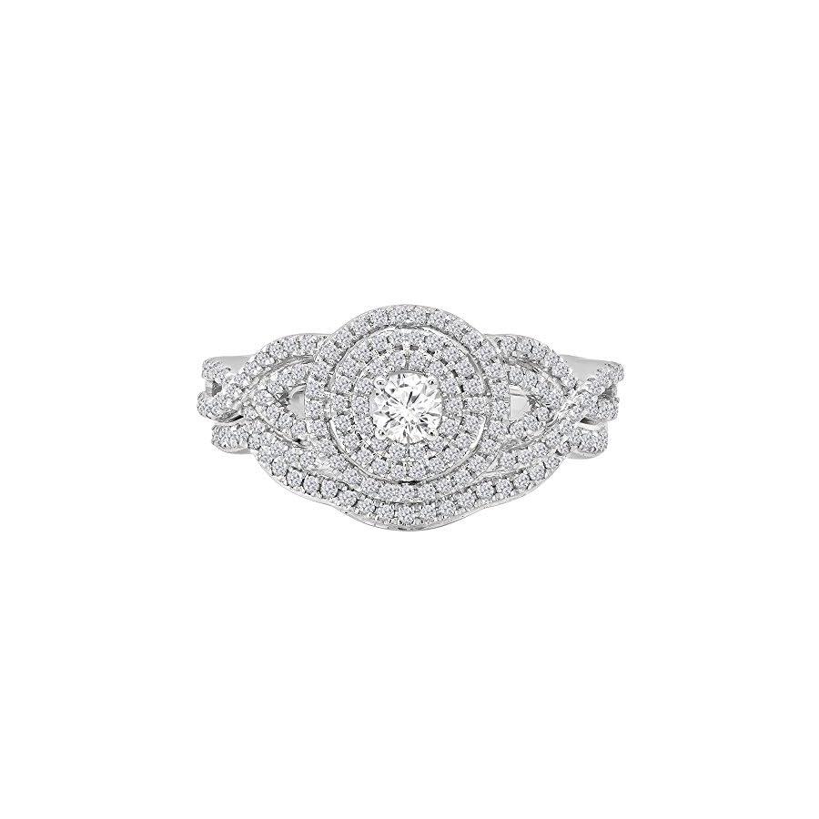 Dazzlingrock Collection 0.55 Carat (Ctw) 10K Gold Round White Diamond Bridal Halo Style Split Shank Engagement Ring Set 1/2 CT