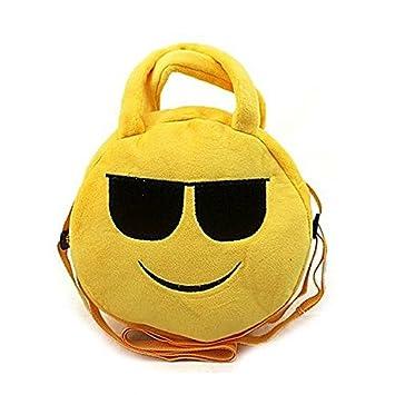 Cara sonriente con gafas de sol Emoji felpa bolsa, Emoji ...