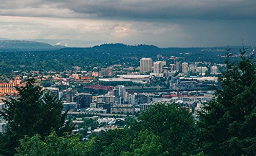 Quality Prints - Laminated 28x17 Vibrant Durable Photo Poster - Portland Skyline from Kings Heights Hillside - Heights King Poster