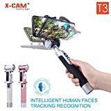X-CAM T3 Selfie Stick with Face Tracking for iPhone X/8/8P/7/7P/6s/6P/5S, Galaxy S5/S6/S7/S8, Google, Huawei,Xiaomi and More (Black)