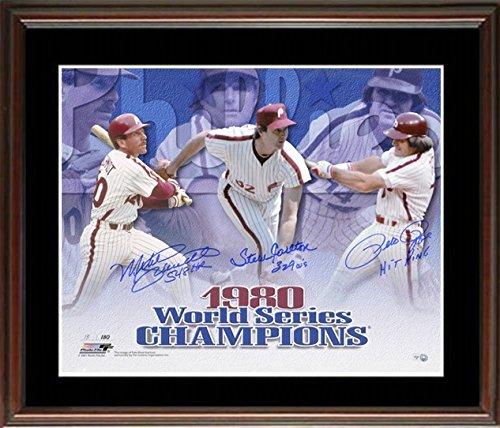 Mike Schmidt, Pete Rose, and Steve Carlton Signed Inscribed Framed Photo-16x20