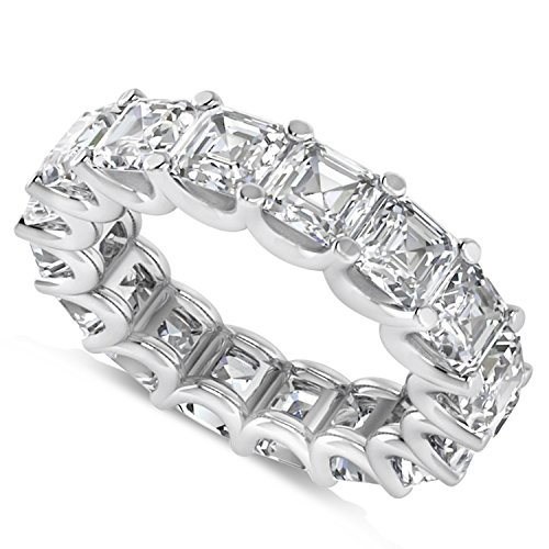 Allurez Radiant-Cut Diamond Eternity Wedding Band Ring in 14k White Gold (9.00ct) Radiant Cut Diamond Eternity Band