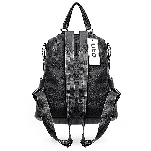 377d6900290f UTO Women Backpack Purse PU Washed Leather 3 Ways Ladies Rucksack ...