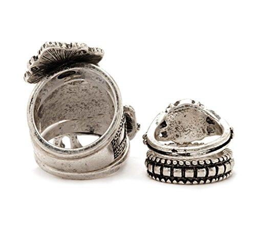 5pcs/set de Bohemia estilo Vintage aleación de plata chapado en turquesa resina cuentas de nudillos de Midi Anillos de Uñas