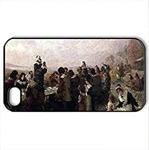 lintao diy art thankgiven - Case Cover for iPhone 4 and 4s (Monuments Series, Watercolor style, Black)