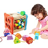 NEOWOWS 3 in 1 Shape Sorting Cube Wooden Sorting Box Educational Toy for Kids Toddler and Preschooler