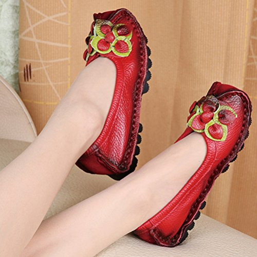 Mordenmiss Flower Pattern red Women's Flat Shoes New 6 Fall Style HHqrw