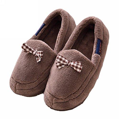 Actlati Soft-soled Vrouwen Home Schoenen Strik Warm Pluche Hakbedekking Zwangere Anti-slip Huis Slippers Kaki