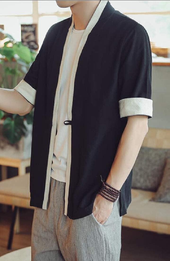 Mens Loose Kimono Cardigan Jacket Cotton Blends Linen Seven Sleeves Solid Color Open Front Coat