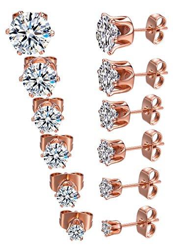 Steel Womens Stud Earrings Cubic Zirconia Inlaid,3mm-8mm 6 Pairs (B:6 Pairs Rosegold-tone) ()