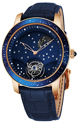 Graham The Moon Mens Flying-Tourbillon Moon-Retrograde 10 Piece Limited Edition Watch - 46mm 18K Rose Gold Watch with Blue Face and 48 Diamond Constellation - Blue Leather Band Swiss Made Luxury Watch ()