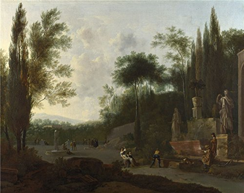 - Oil Painting 'Frederick De Moucheron - Figures In An Italian Garden,probably 1665-70' 8 x 10 inch / 20 x 26 cm , on High Definition HD canvas prints, gifts for Basement, Bath Room And Garage decor