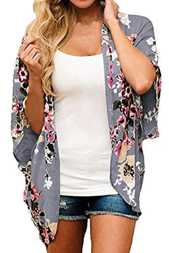 Finoceans Ladies Sheer Chiffon Cardigans Summer Batwing Kimonos Deep Grey Floral L