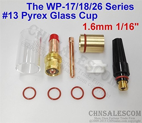 CHNsalescom 10 pcs TIG Welding 45V25 Gas Lens #13 Pyrex Cup Kit for Tig WP-17/18/26 1/16
