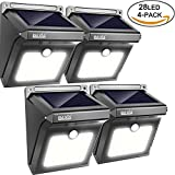 BAXiA Bright 28 LED Wireless Outdoor Waterproof Solar Powered Motion Sensor Security Wall Lights for Door, Driveway, Garden, Patio, Yard(4 Packs)
