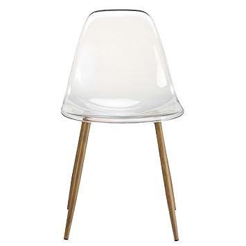 zons lot de 2 chaises plexi transparente translucide en pc 52x46xh84cm - Chaise Plexi Transparente