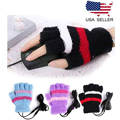 HoFire USB Heating Winter Gloves Women Hand Warm Gloves USB Heater Fingerless Warmer Mitten Gloves (Black)