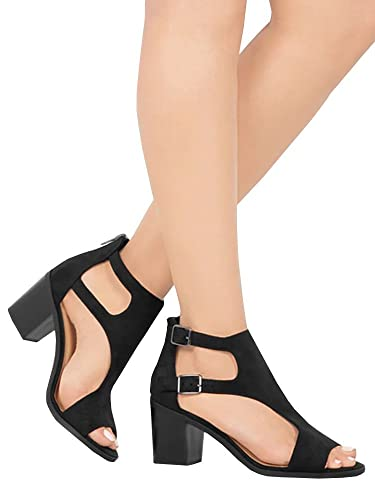a0e75956e FISACE Womens Open Toe Cut Out Stacked Heel Sandals Dressy Crossed Strap  Shoes Black