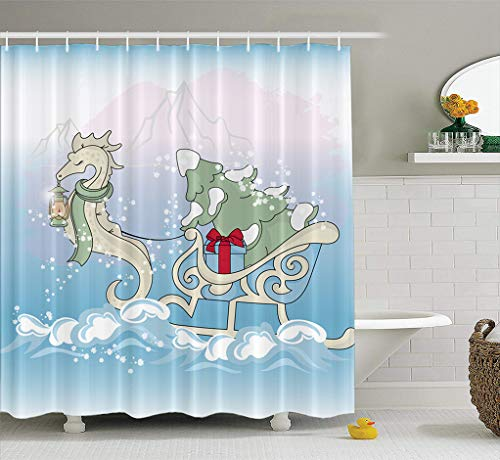 Asoco Fabric Shower Curtain Christmas Sea Horse New Year Color Art Beautiful Beauty Blue Card Bathroom Shower Curtains Mildew Resistant Waterproof Set of Hooks 72X72 Inches