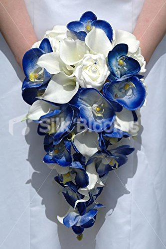 38cad2047f5154 Amazon.com: Royal Blue Orchid Ivory Calla Lily & Rose Cascading ...